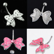 1 Pcs Chic Cute Body Piercing Navel Ring Stud Stainless Steel Bowknot Belly Bar