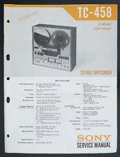 Sony TC-458 Original Bandmaschine / Stéréo Tapecorder Manuel de Service /