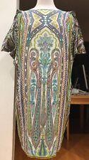 EXQUISITE!!! ETRO Multicolor Print 100% Silk Sheath Dress w Pockets IT 42/4-6 US