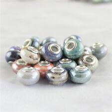 Lots Fambe Ceramic Rondelle Silver Big Hole Charm Beads for European Bracelet