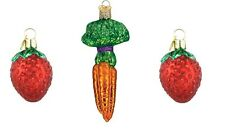 OLD WORLD CHRISTMAS FRUITS & VEGETABLE ORNAMENT LOT - STRAWBERRY & CARROTS BUNCH