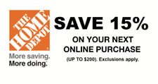 ONE 1X 15% OFF Home Depot 1Coupon - Online ONLY Save up to $200 Fast Shipment