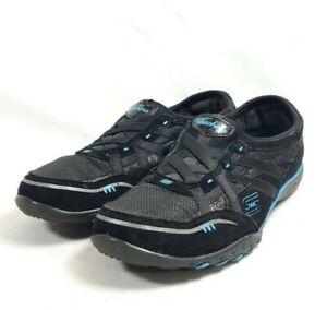 Skechers Breath Easy Fashion Sneakers Women's Sz 8/38 Black Leather Mesh