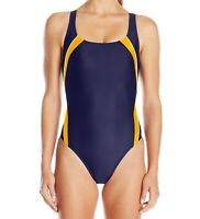 Speedo Womens Swimwear Orange Blue Size 12 Taper Splice One Piece $78 239