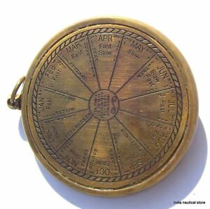 LOT OF 10PC VINTAGE SUNDIAL CLOCK KEYCHAIN ANTIQUE BRASS MARITIME KEY-RING GIFT