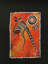 SMALL ABORIGINAL ART PAINTING 25X20CM CONTEMPORARY ART KANGAROO FROM AUSTRAILIA