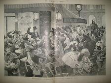 MARDI GRAS CARNAVAL CONFETTIS COTILLONS GRANDS BOULEVARDS A  PARIS GRAVURES 1894