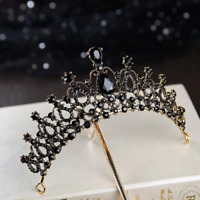 STUNNING BRAND NEW GOLD CROWN/TIARA WITH BLACK CRYSTALS, BRIDAL OR RACING