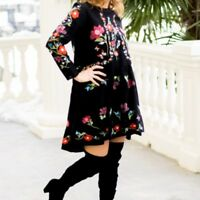 NWT ZARA BLACK DRESS EMBROIDERED MINI RUFFLE FLORAL REF 3440/252 TUNIC S/M