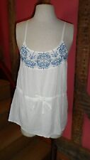 Medium Sleeveless Strappy Top in White Cotton with Blue Aztec Embroidery Detail