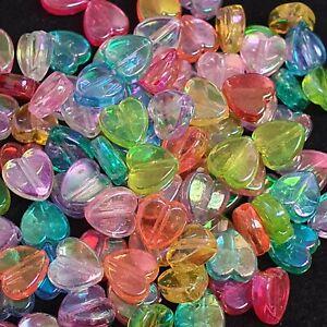 10mm Multicoloured Acrylic heart Beads - Jewellery Making