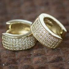 Mens Women Sterling Silver 4 Row Cz 14K Yellow Gold Hoop Huggie Stud Earrings