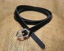 Mittelalter Langürtel Leder schwarz 125cm 1,5cm breit  Kinder Damen Gürtel lang