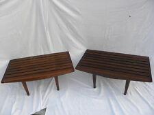 Pr Mid-Century Danish Modern Walnut/Teak Wood Slat Bench End Tables Plant Stands