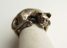 Vintage Signed James Yesberger Sleepy Cat Kitten Ring Sterling Silver Size 4.5