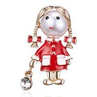 Little Cute Girl Brooch Pin Collar Badge Women Children Costume Jewelry Party