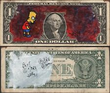 Jury The Clown Dollar Art Original Hand Painted Bad Bart Simpson and Mood Cloud