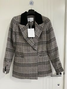 Viktoria And Woods Riccardo Blazer Boston Check Size 00. Wool. New. Rrp $650.