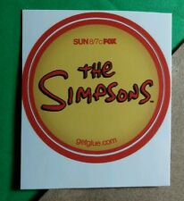 SIMPSONS SUN YELLOW RED TITLE FOX CARTOON TV GET GLUE STICKER