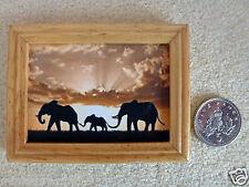 "DOLLS HOUSE MINIATURE PICTURE ""ELEPHANTS"" Varnished Wood Frame Handmade 1:12th"