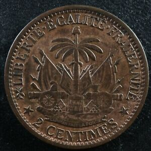 2 centimes 1881 Haiti KM#43 Haïti Ayiti Bronze