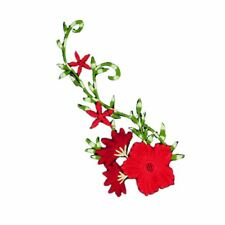 Greeny Red Flowers (Iron On) Embroidery Applique Patch Sew Iron Badge