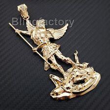 Hip Hop Bling 14K Gold Plated Saint Michael Archangel Large Charm Pendant