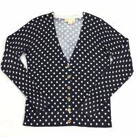 Michael Kors Size SMALL Womens Black White Polka Dot Button Front Cardigan S GUC