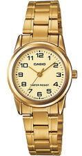 Casio LTP-V001G-9B Women's Gold Tone Gold Easy Reader Dial Metal Band Watch