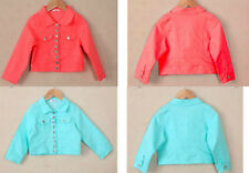 Girls Denim Jacket Candy Coloured Mint Pink Summer Party Pretty Trendy Age Size