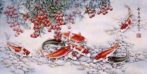 Koi fish carps-ORIGINAL ASIAN FINE ART CHINESE FAMOUS ANIMAL WATERCOLOR PAINTING