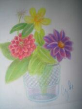 colored pencil drawing original flowers garden dahlia flowers