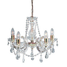 Marie Therese 5 Light Crystal Chandelier in Gold with Crystal Glass Droplets