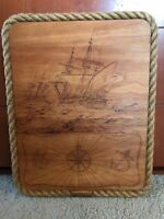 """Wood Burning, Pyrography Art, Tall Ships """"Resolution"""" signed REDUCED"""