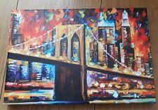 "BROOKLYN BRIDGE NEW YORK CITY OIL PAINTING RE PRINT ON CANVAS -UN FRAMED 12""x8"""