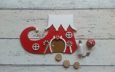 Hand Made Elf Boot Christmas Fairy Door Red gift set