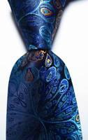 New Classic Floral Paisley Dark Blue Brown JACQUARD WOVEN Silk Men's Tie Necktie