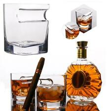 320ml Whiskey Glass Cup With Cigar Holder Groove Rack Bar Wine Drinking Clear Ne