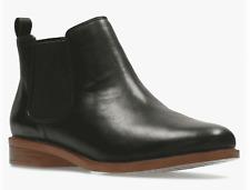 BNIB Clarks Ladies Taylor Shine Black Leather Chelsea Boots