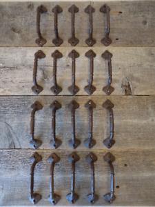 "20 CAST IRON HANDLES RUSTIC DRAWER BIN PULLS 5 1/2"" LONG HOME DECOR KITCHEN"