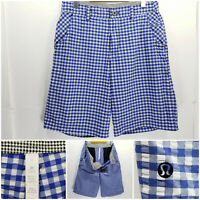 Lululemon Seersucker Mens Size 32 Shorts Blue White Check