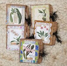 Coffee Dyed Paper Bag Junk Journals w/ Flowers Handmade