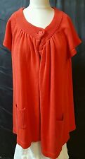 Cato Red Cardigan Sweater Size 22/24W  Cap Sleeves 1 Button Pockets 100% Cotton