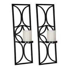 Black Metal Geometric Circle Sconces, Set of 2 - New