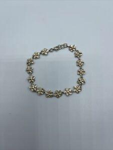 Beautiful Sterling Silver Cute Flower Link Bracelet # A17