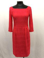 Nanette Lepore Dress Bateau Neck 3/4 Sleeve Inverted Pleated Shift Pink Coral 4