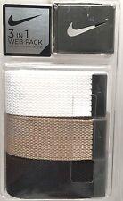 NIKE Men's Belt 3in1 One Sz Fit All*Black/White/Khaki-Gray Buckle 32-46 New