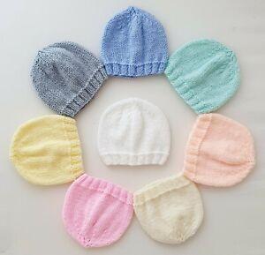 3pk Hats 3-5lbs Tiny Baby Premature Girls Boys Hand Knitted Pink Blue Lemon Grey
