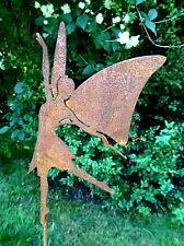 Gartenstecker tanzende Fee mit Flügeln a. Metall, 62 cm, Gartendeko Rost Märchen