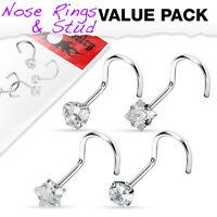 4pc Value Pack Prong Set Shaped Gem Steel Nose Screw Rings - choose 18g or 20g